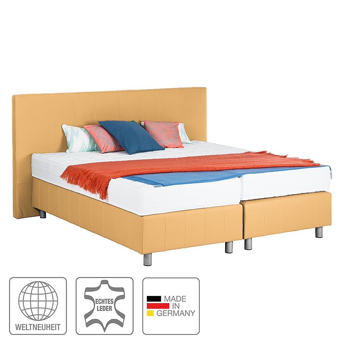 Boxspringbett Atlanta (Echtleder) - Ohne Topper - 140 x 200cm - H3 ab 80 kg - Gelb, Art of Sleep