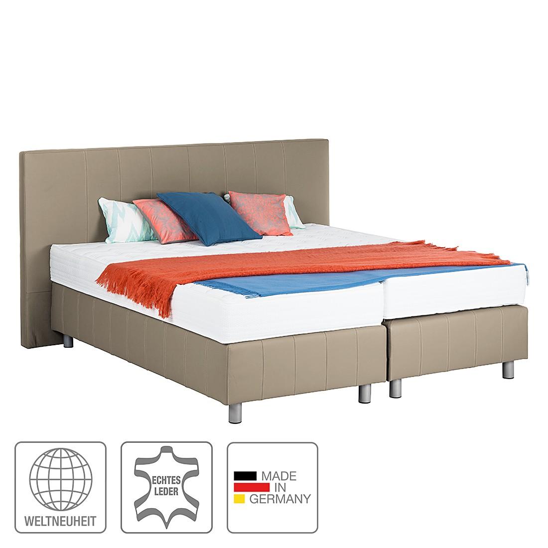 Boxspringbett Atlanta (Echtleder) - Ohne Topper - 160 x 200cm - H3 ab 80 kg - Schlamm, Art of Sleep