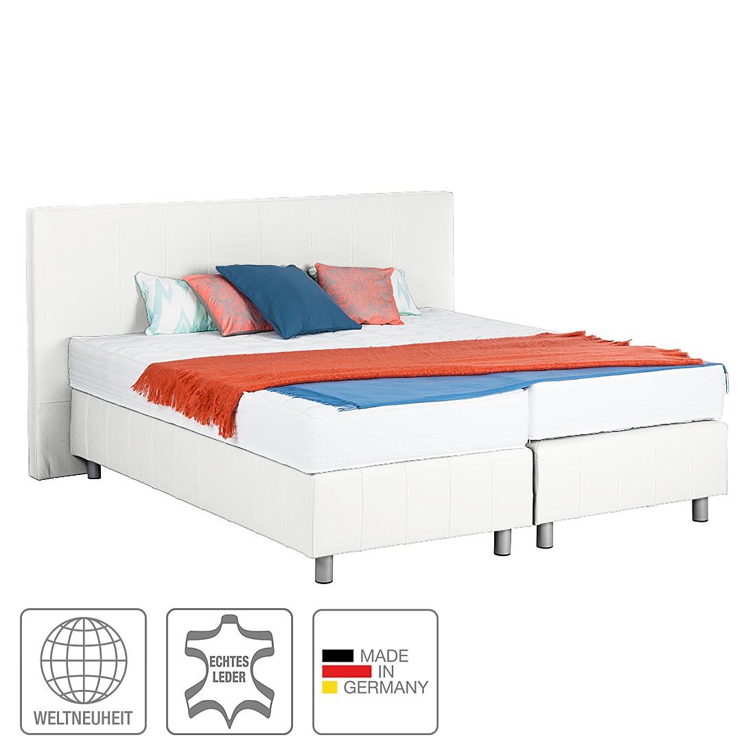 Boxspringbett Atlanta (Echtleder) - Ohne Topper - 160 x 200cm - H3 ab 80 kg - Weiß, Art of Sleep