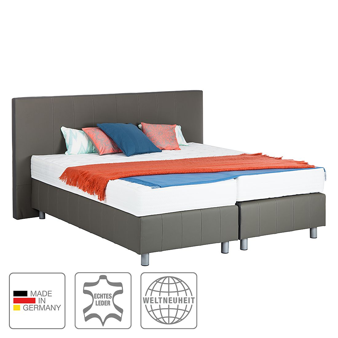 boxspringbett atlanta echtleder ohne topper 200 x 200cm h2 bis 80 kg grau art of. Black Bedroom Furniture Sets. Home Design Ideas