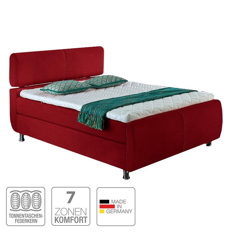 Boxspringbett Catania – Webstoff – 140 x 200cm – H3 ab 80 kg – Komfortschaum – Multitonnentaschenfederkern – Multi-Tonnentaschenfederkernmatratze – Rot, meise.möbel bestellen