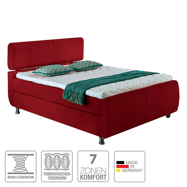 Boxspringbett Catania – Webstoff – 140 x 200cm – H3 ab 80 kg – Viscoschaumtopper – Bonellfederkern – Tonnentaschenfederkernmatratze – Rot, meise.möbel jetzt bestellen