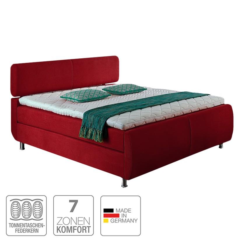 Boxspringbett Catania – Webstoff – 180 x 200cm – H3 ab 80 kg – Komfortschaum – Multitonnentaschenfederkern – Multi-Tonnentaschenfederkernmatratze – Rot, meise.möbel günstig