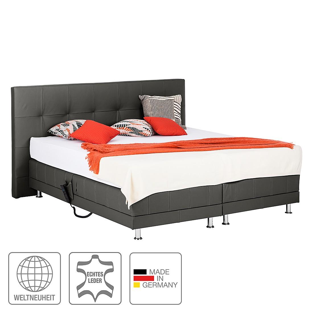 boxspringbett denver echtleder ohne topper 140 x 200cm h3 ab 80 kg schwarz art of. Black Bedroom Furniture Sets. Home Design Ideas