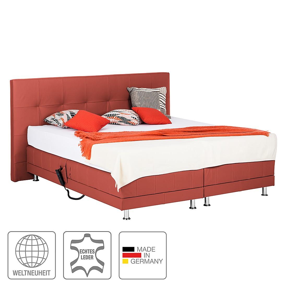 Boxspringbett Denver – Echtleder – Ohne Topper – 160 x 200cm – H3 ab 80 kg – Rot, Art of Sleep jetzt bestellen