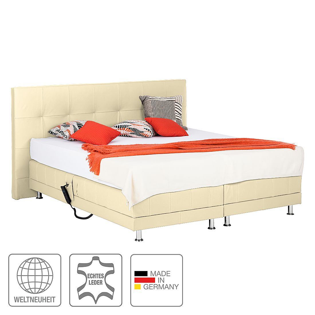 boxspringbett denver echtleder ohne topper 200 x 200cm h2 bis 80 kg beige art of. Black Bedroom Furniture Sets. Home Design Ideas