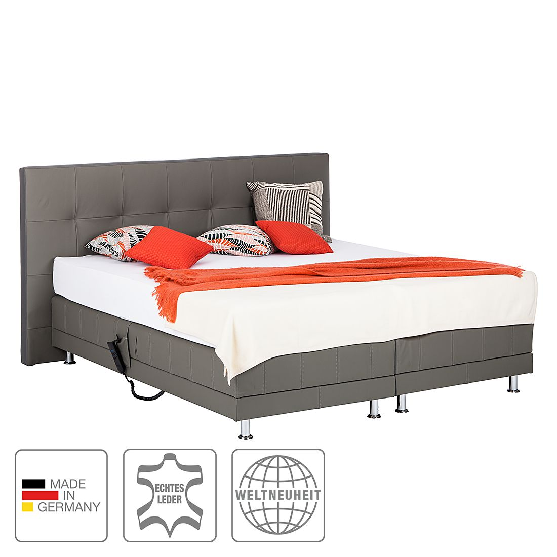 boxspringbett denver echtleder ohne topper 140 x 200cm h3 ab 80 kg grau art of sleep. Black Bedroom Furniture Sets. Home Design Ideas