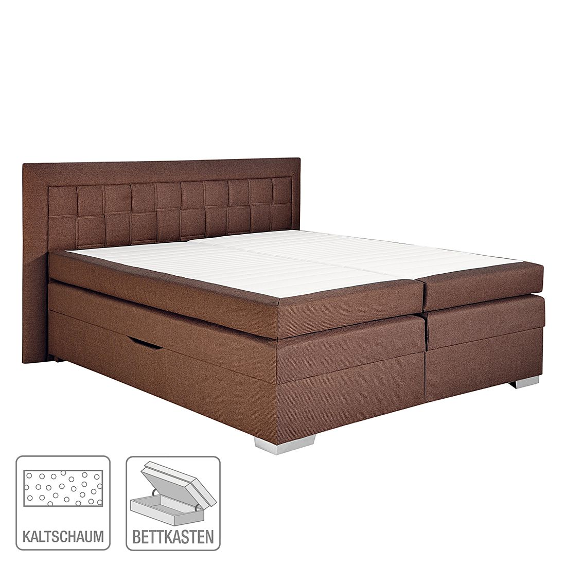 boxspringbett flash webstoff braun 180 x 200cm. Black Bedroom Furniture Sets. Home Design Ideas