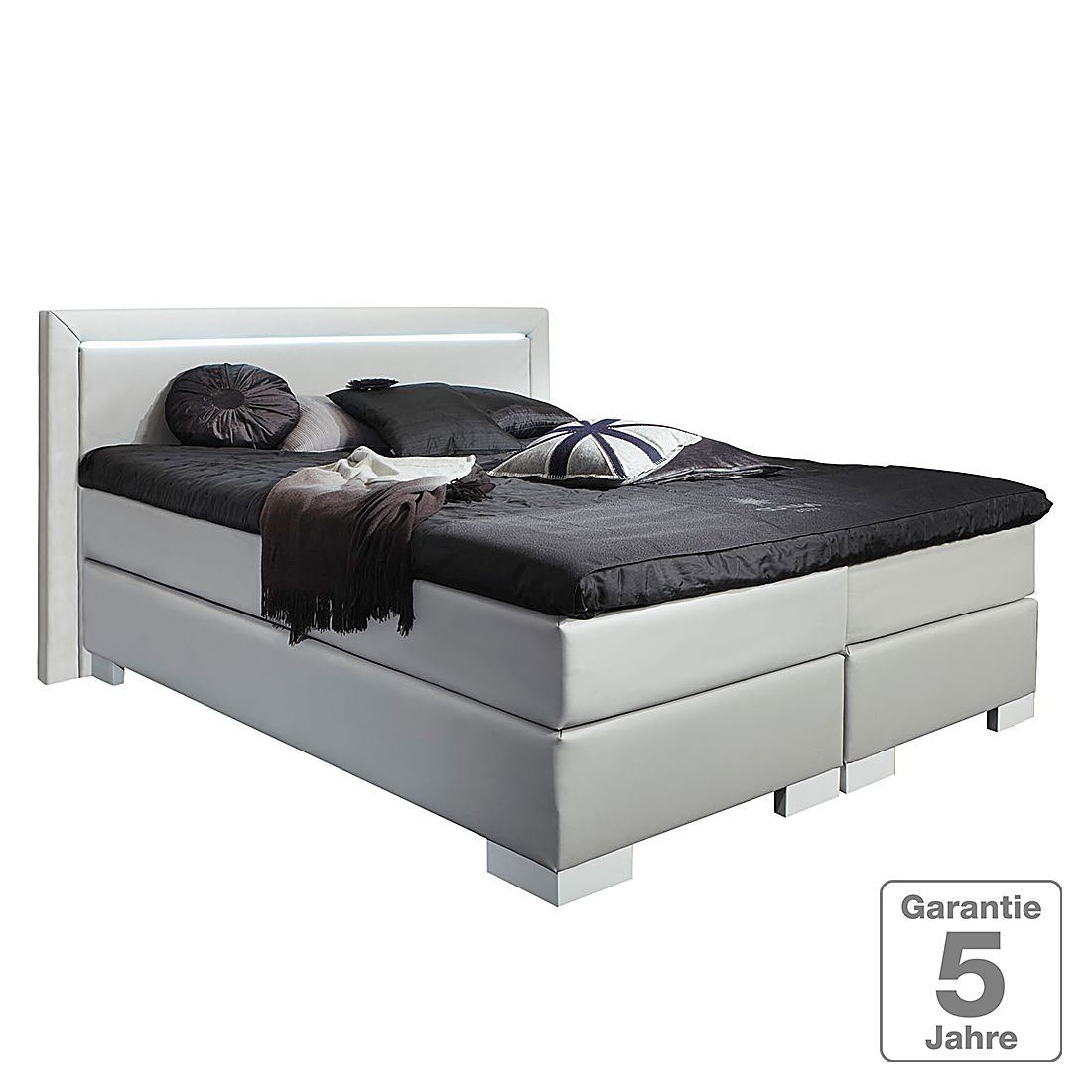 boxspringbett maila kunstleder 140 x 200cm h2 bis 80 kg hellgrau nova dream sleepline. Black Bedroom Furniture Sets. Home Design Ideas