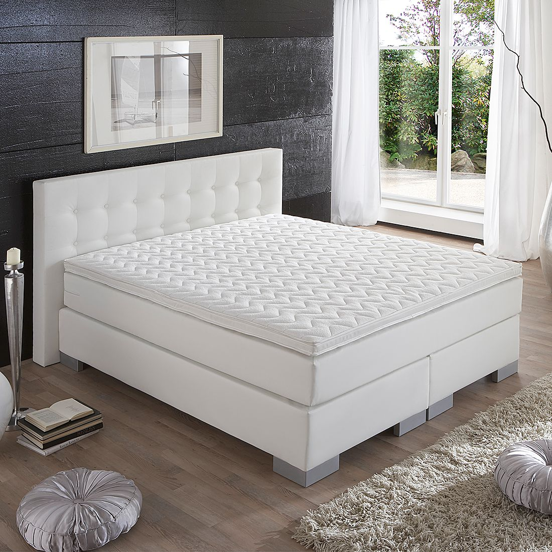 boxspringbett wei modern neuesten design kollektionen f r die familien. Black Bedroom Furniture Sets. Home Design Ideas
