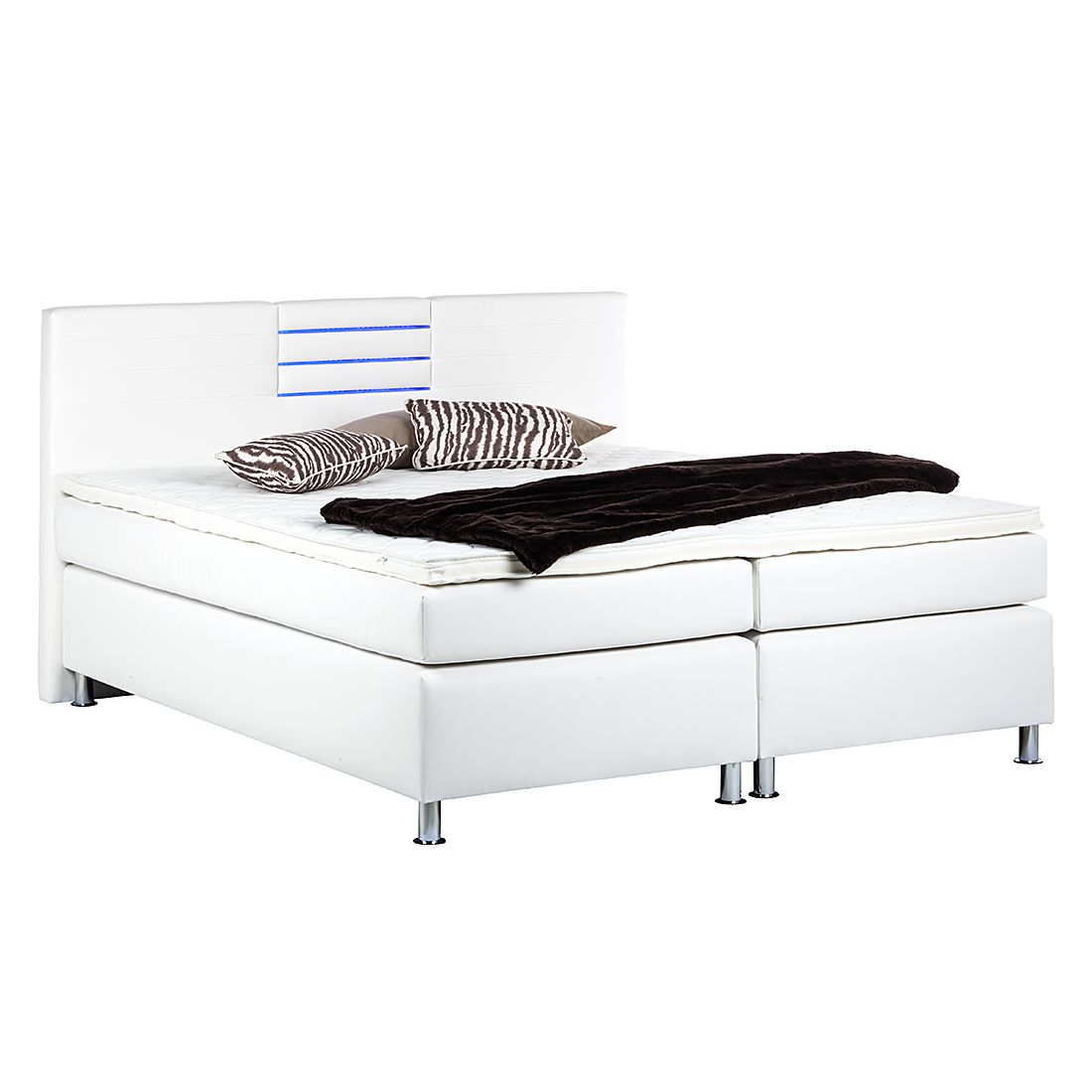 Boxspringbett Moonlight II – inklusive Topper – 180 x 200cm – Bonellfederkern – Bonellfederkernmatratze – Weiß, Nova Dream Sleepline kaufen