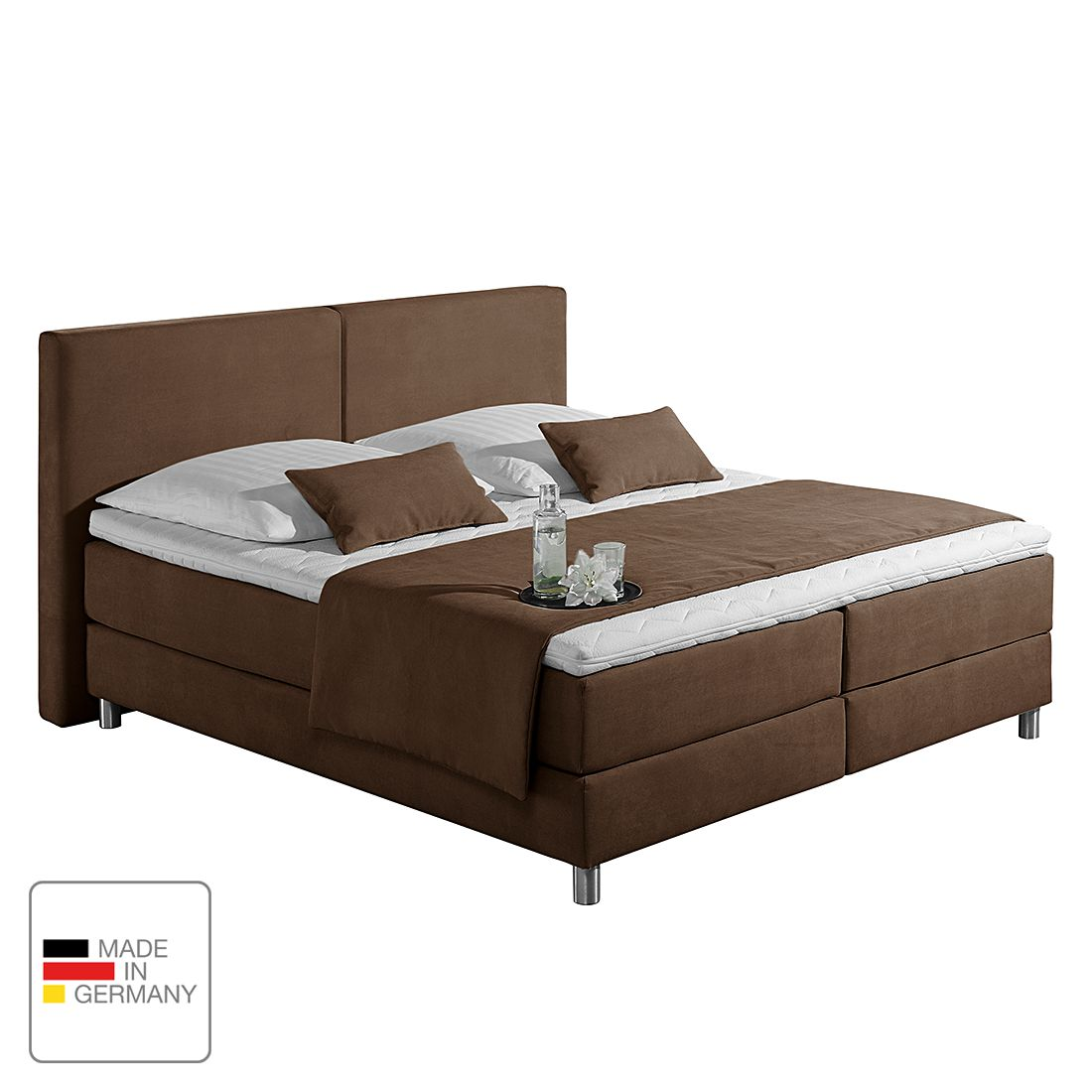 Boxspringbett Nilan - Webstoff - 180 x 200cm - H2 bis 80 kg - Kaltschaummatratze - Schokoladenbraun, Monaco