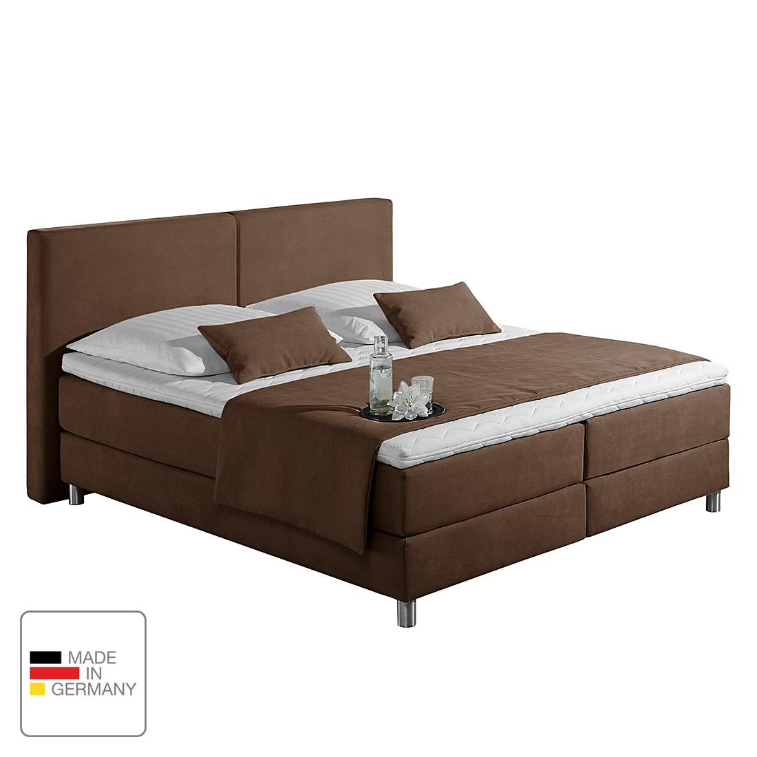 Boxspringbett Nilan - Webstoff - 180 x 200cm - H3 ab 80 kg - Bonellfederkernmatratze - Schokoladenbraun, Monaco