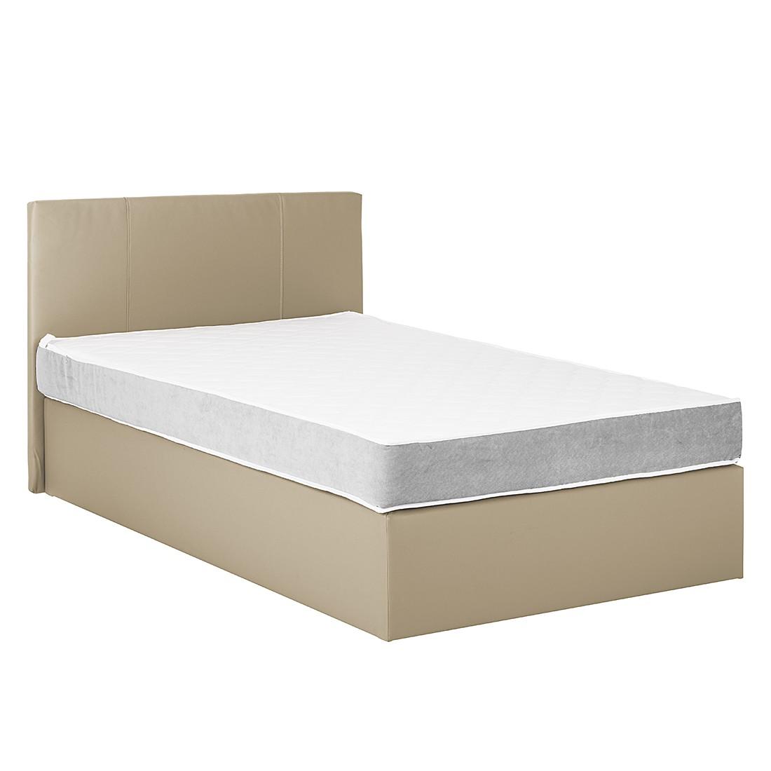 boxspringbett pluto kunstleder webstoff ohne topper 160 x 200cm wei dunkelgrau. Black Bedroom Furniture Sets. Home Design Ideas