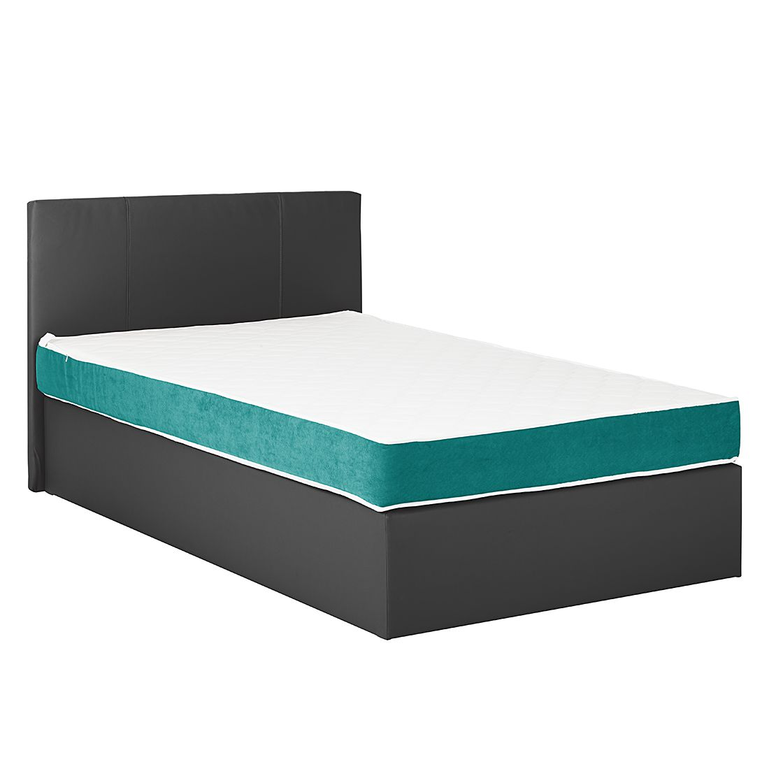 boxspringbett pluto kunstleder webstoff ohne topper 200 x 200cm schwarz petrol. Black Bedroom Furniture Sets. Home Design Ideas