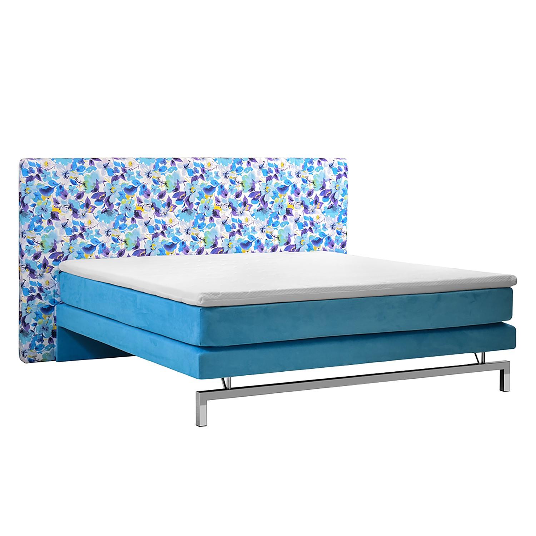 Boxspringbett Rimas IV - Webstoff Blau - 180 x 200cm, Nuovoform
