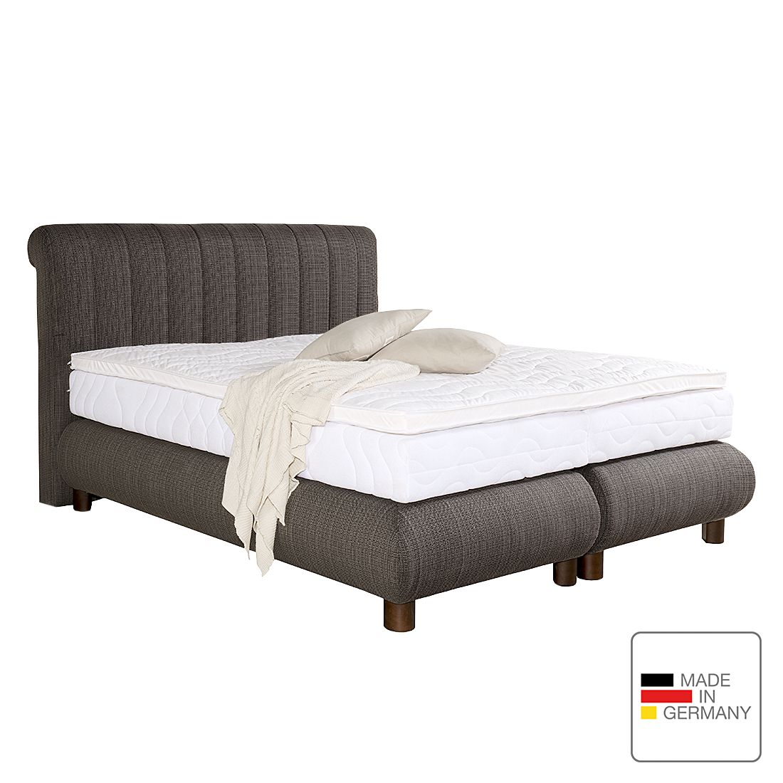boxspringbett romeo strukturstoff 90 x 200cm h2 bis 80 kg visco kaltschaummatratze. Black Bedroom Furniture Sets. Home Design Ideas
