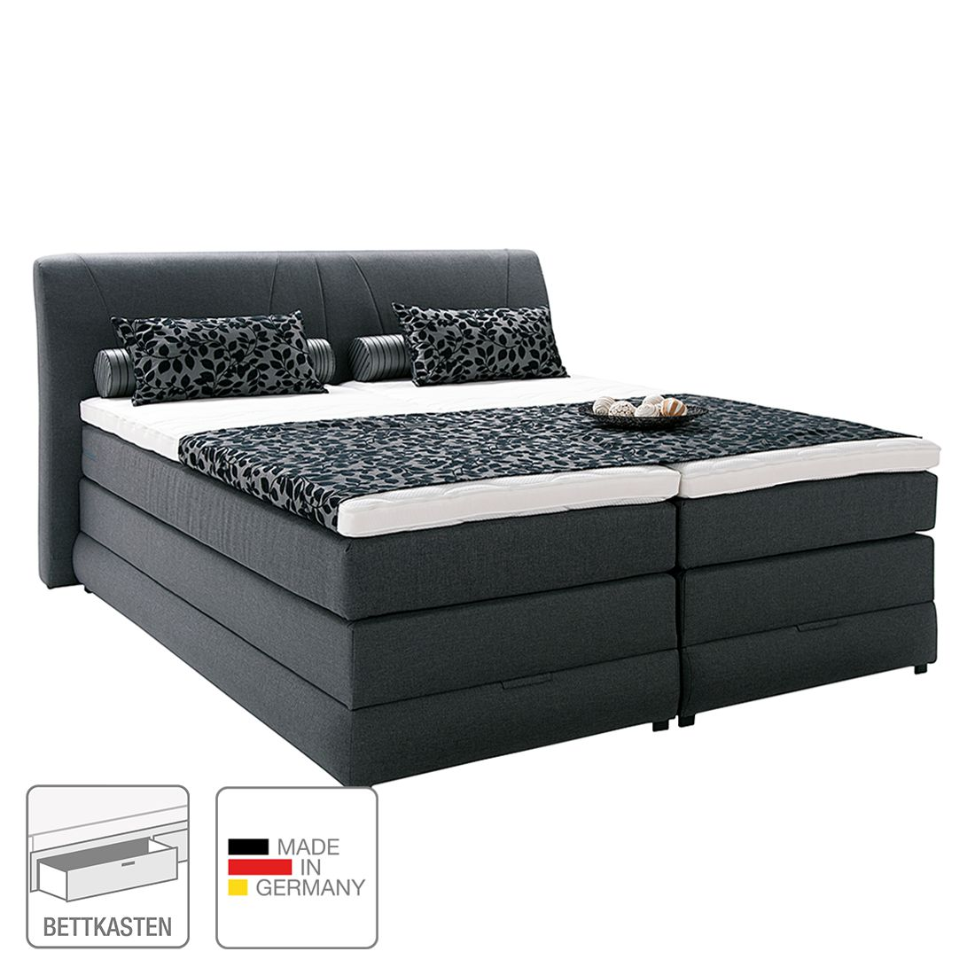Boxspringbett Savoy – inklusive Topper – Webstoff – 160 x 200cm – H2 bis 80 kg – Anthrazit, Art of Sleep online kaufen