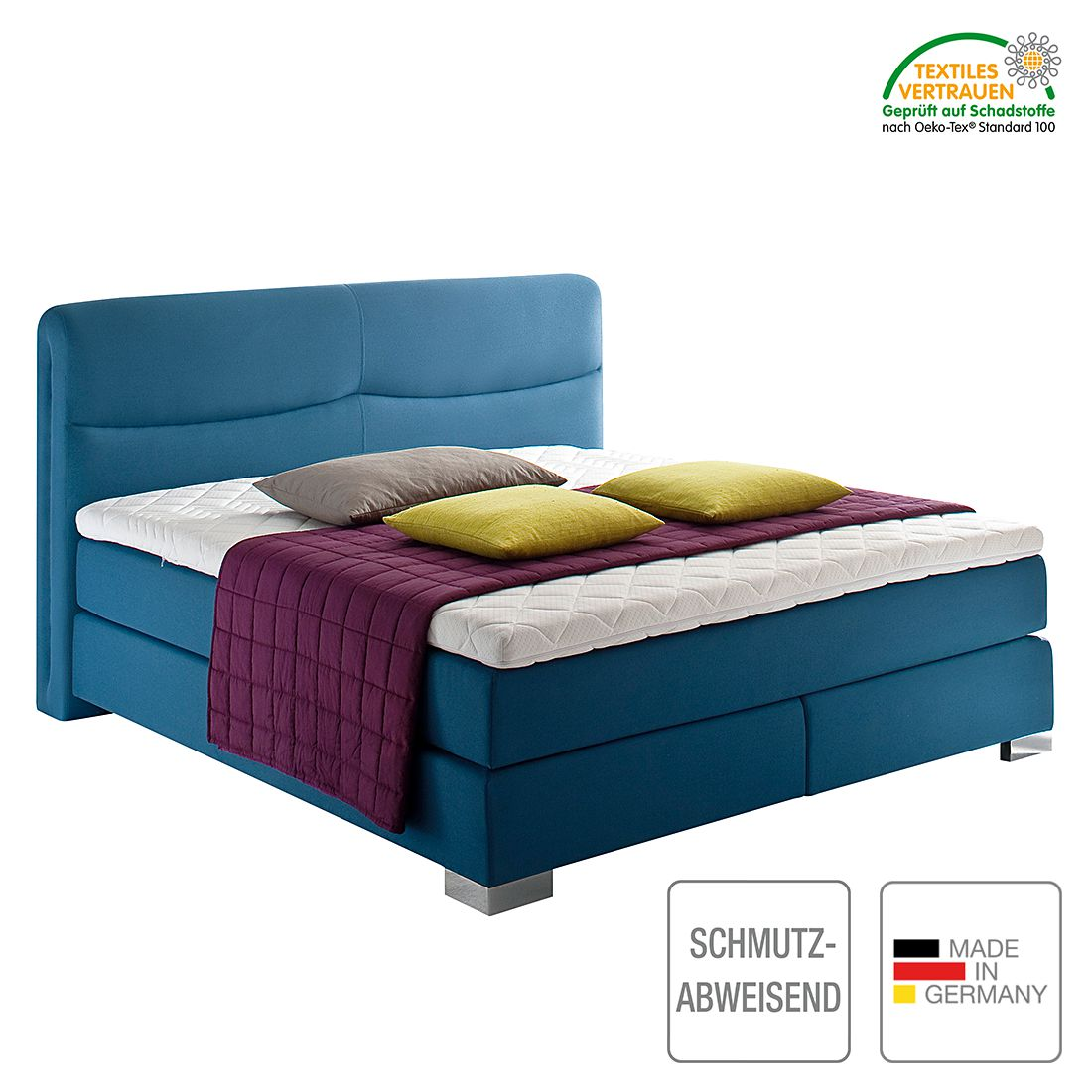 boxspringbett scala webstoff h2 bis 80 kg h3 ab 80 kg viscoschaumtopper. Black Bedroom Furniture Sets. Home Design Ideas