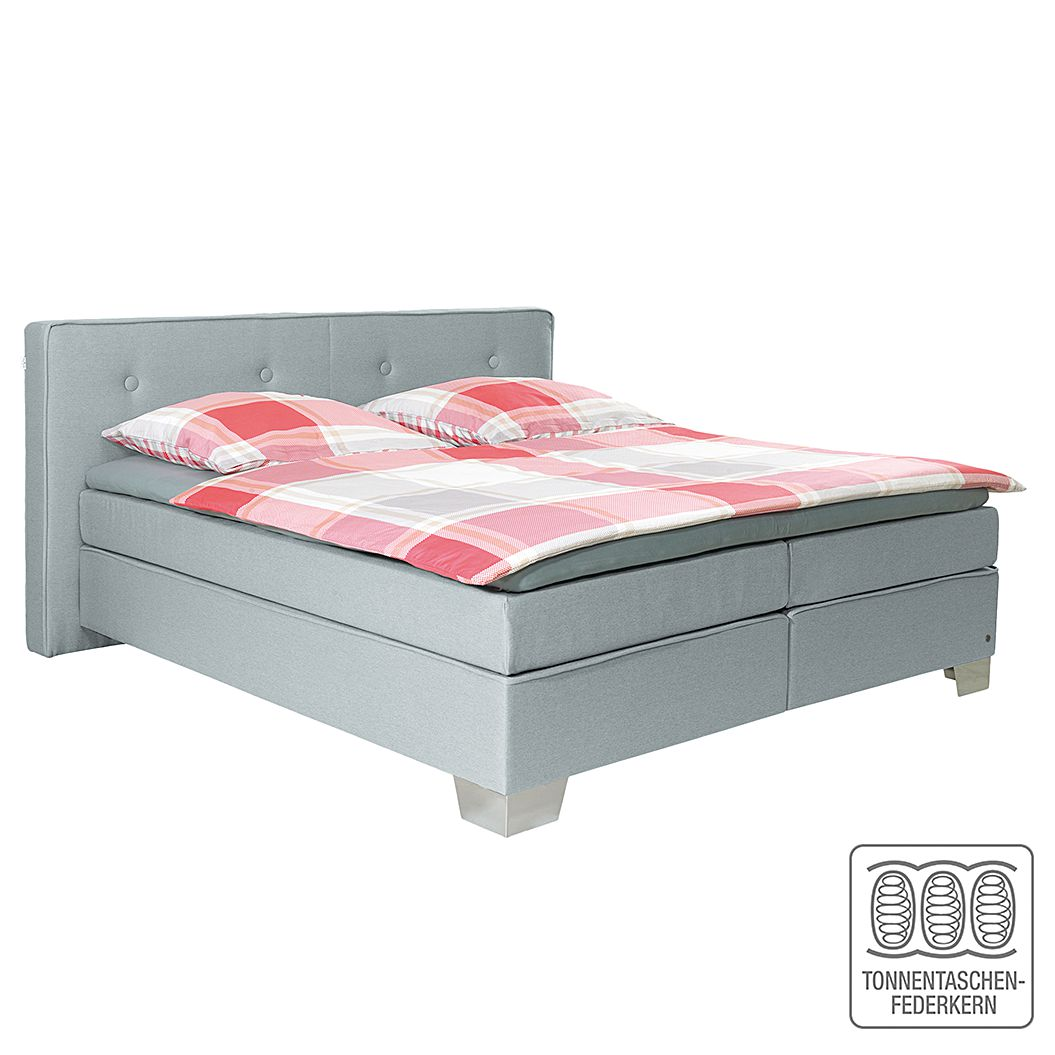 Boxspringbett Soft Box - Webstoff - 160 x 200cm - H2 bis 80 kg - Hellgrau, Tom Tailor