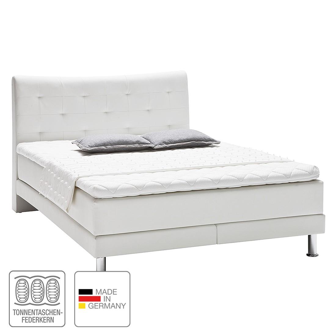 Boxspringbett Vega – Kunstleder – 120 x 200cm – H2 bis 80 kg – Viscoschaumtopper – Tonnentaschenfederkernmatratze – Weiß, meise.möbel günstig online kaufen