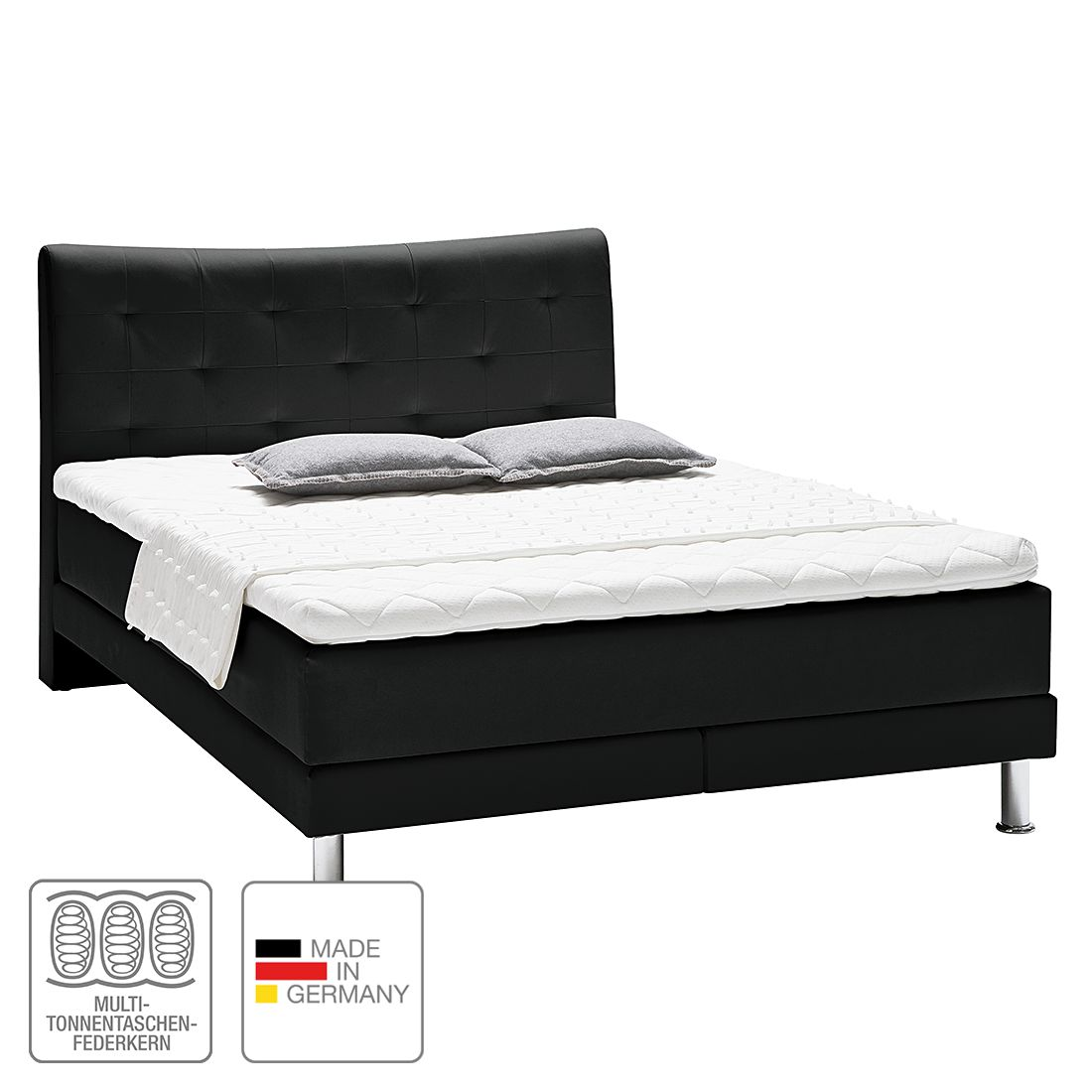 boxspringbett vega kunstleder 140 x 200cm h2 bis 80 kg kaltschaumtopper multi. Black Bedroom Furniture Sets. Home Design Ideas