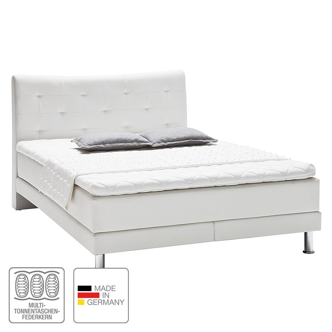 Boxspringbett Vega – Kunstleder – 180 x 200cm – H2 bis 80 kg / H3 ab 80 kg – Viscoschaumtopper – Multi-Tonnentaschenfederkernmatratze – Weiß, meise.möbel günstig bestellen