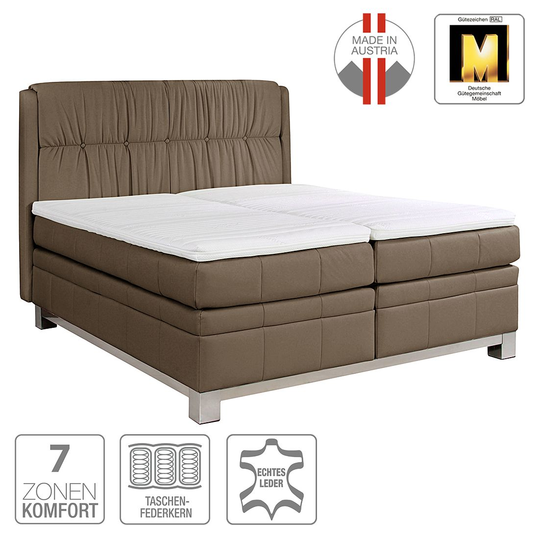 boxspringbett wolke7 ii echtleder 160 x 200cm h3 ab 80 kg braun ada premium g nstig. Black Bedroom Furniture Sets. Home Design Ideas