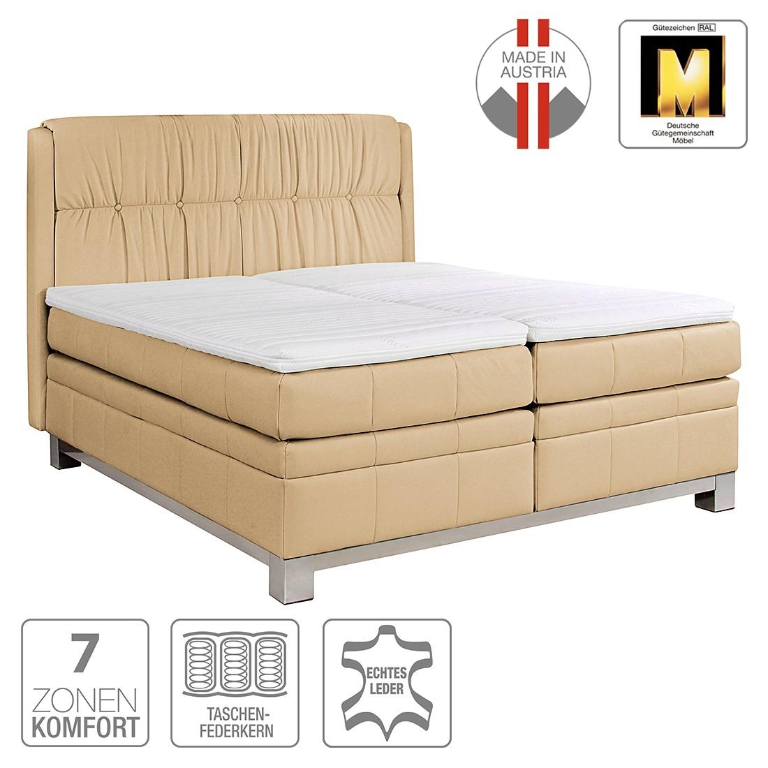 boxspringbett wolke7 ii echtleder 180 x 200cm h2 bis 80 kg hellbraun ada premium jetzt. Black Bedroom Furniture Sets. Home Design Ideas