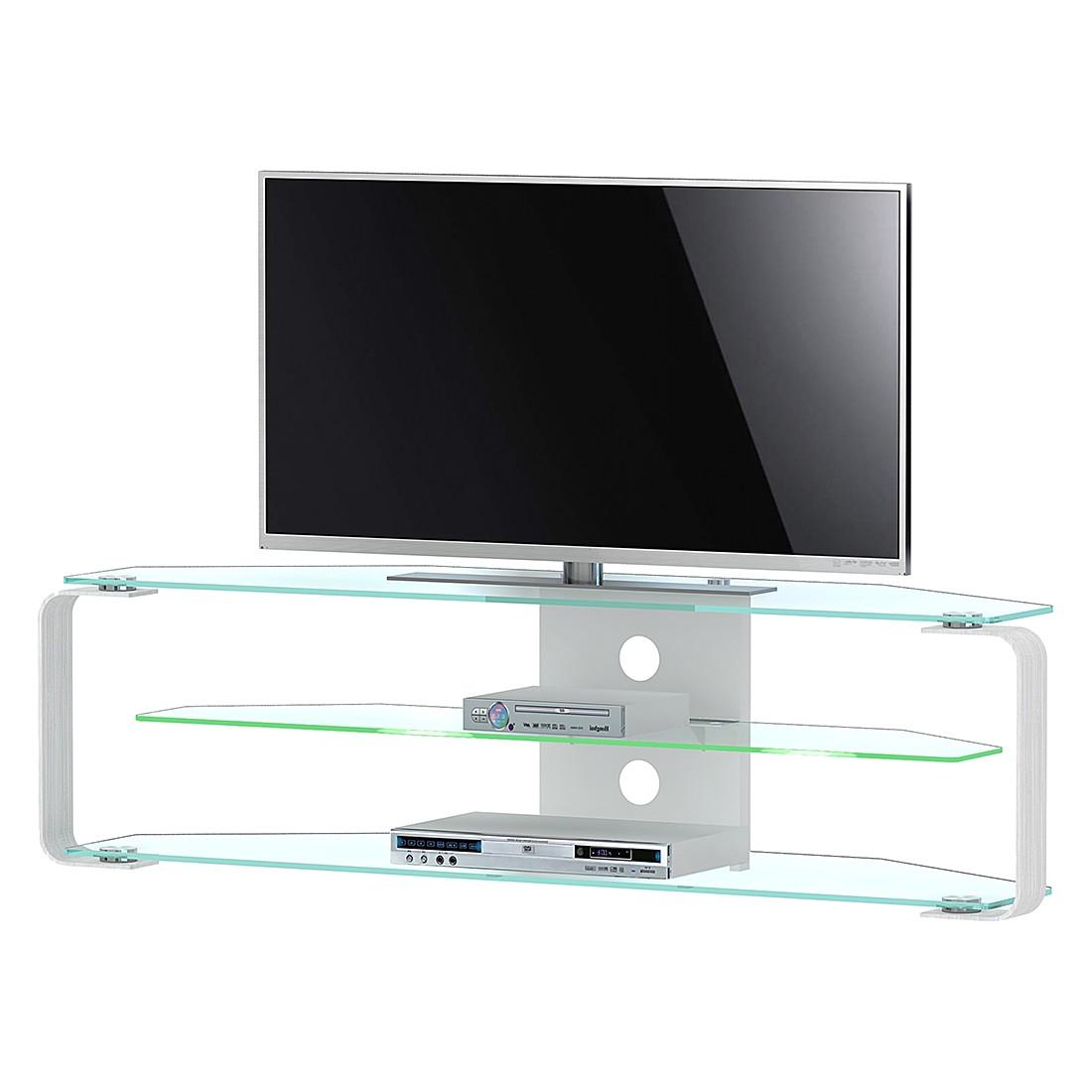 EEK A+, TV-Rack CU-MR (inkl. Beleuchtung) - Aluminium/Glas - 140 cm, Jahnke