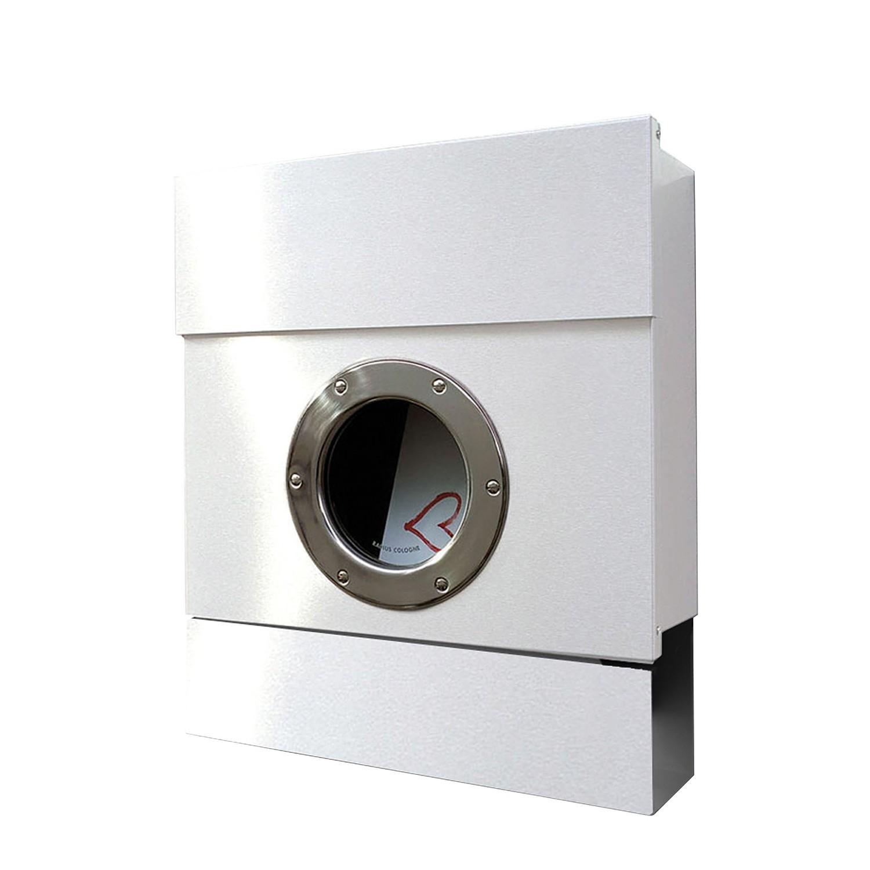Briefkasten Letterman II - Stahl - Weiß, Radius