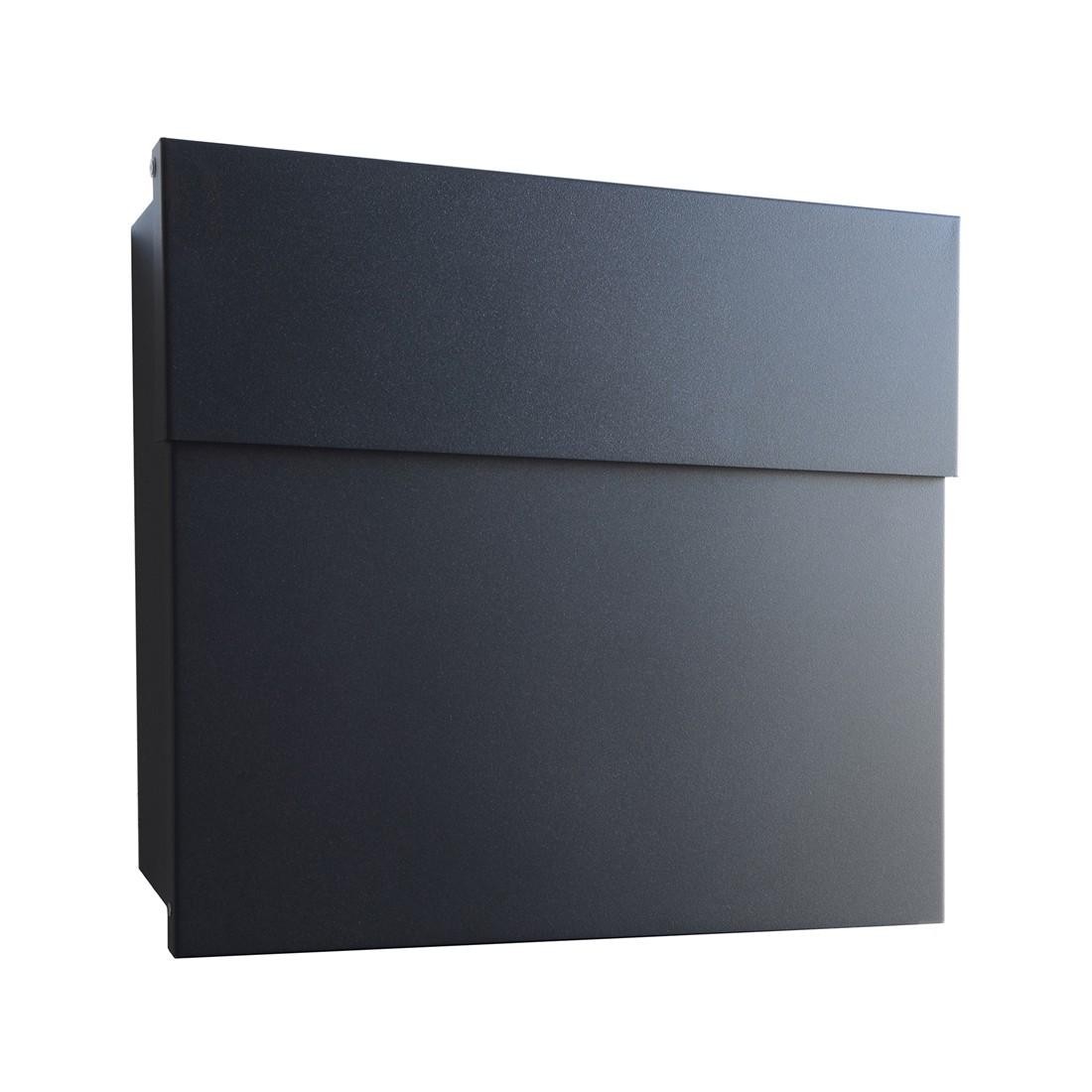 Briefkasten Letterman IV Wandversion - Stahl Pulverbeschichtet Schwarz, Radius