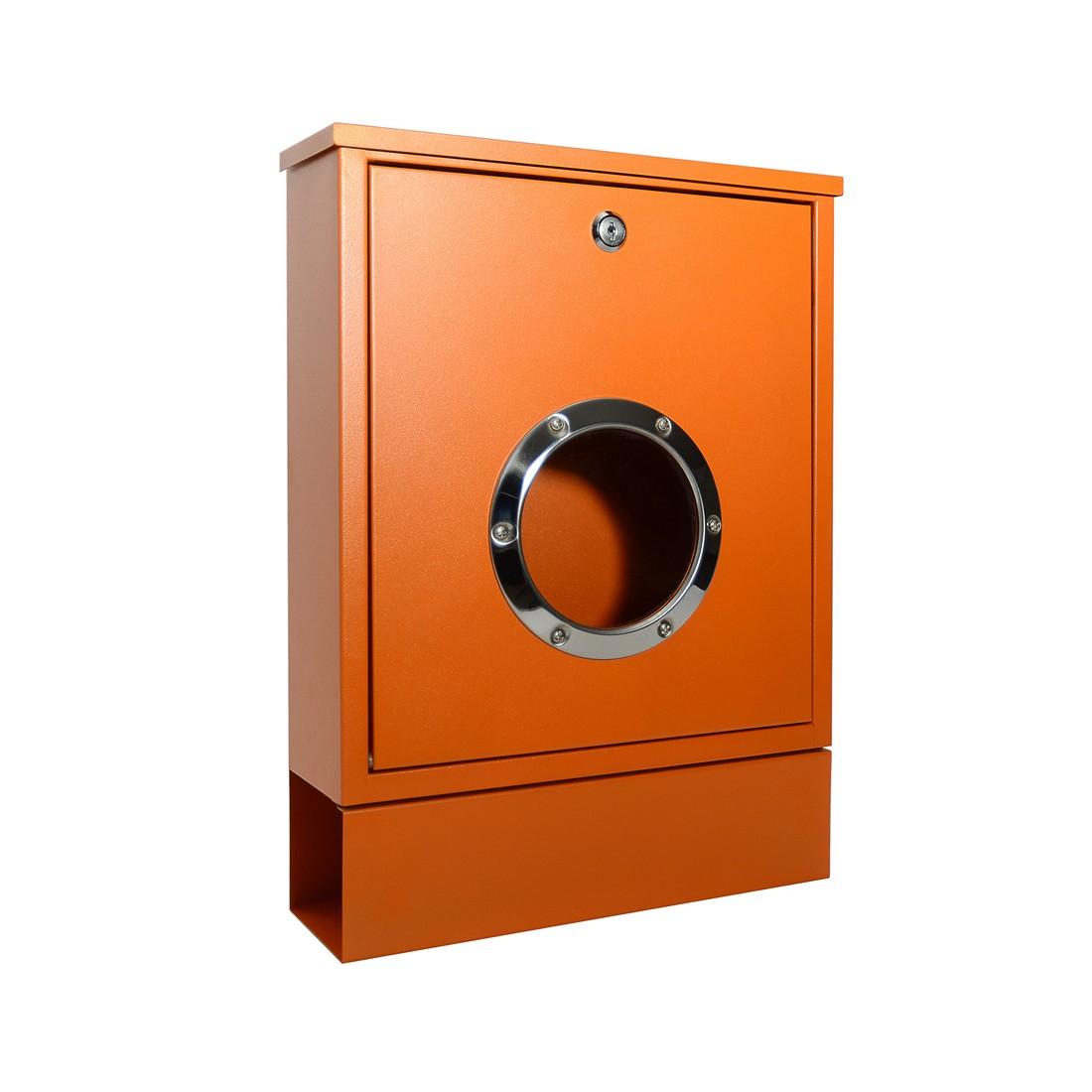 Briefkasten Letterman Mini mit Zeitungsrolle - Stahl Orange, Radius