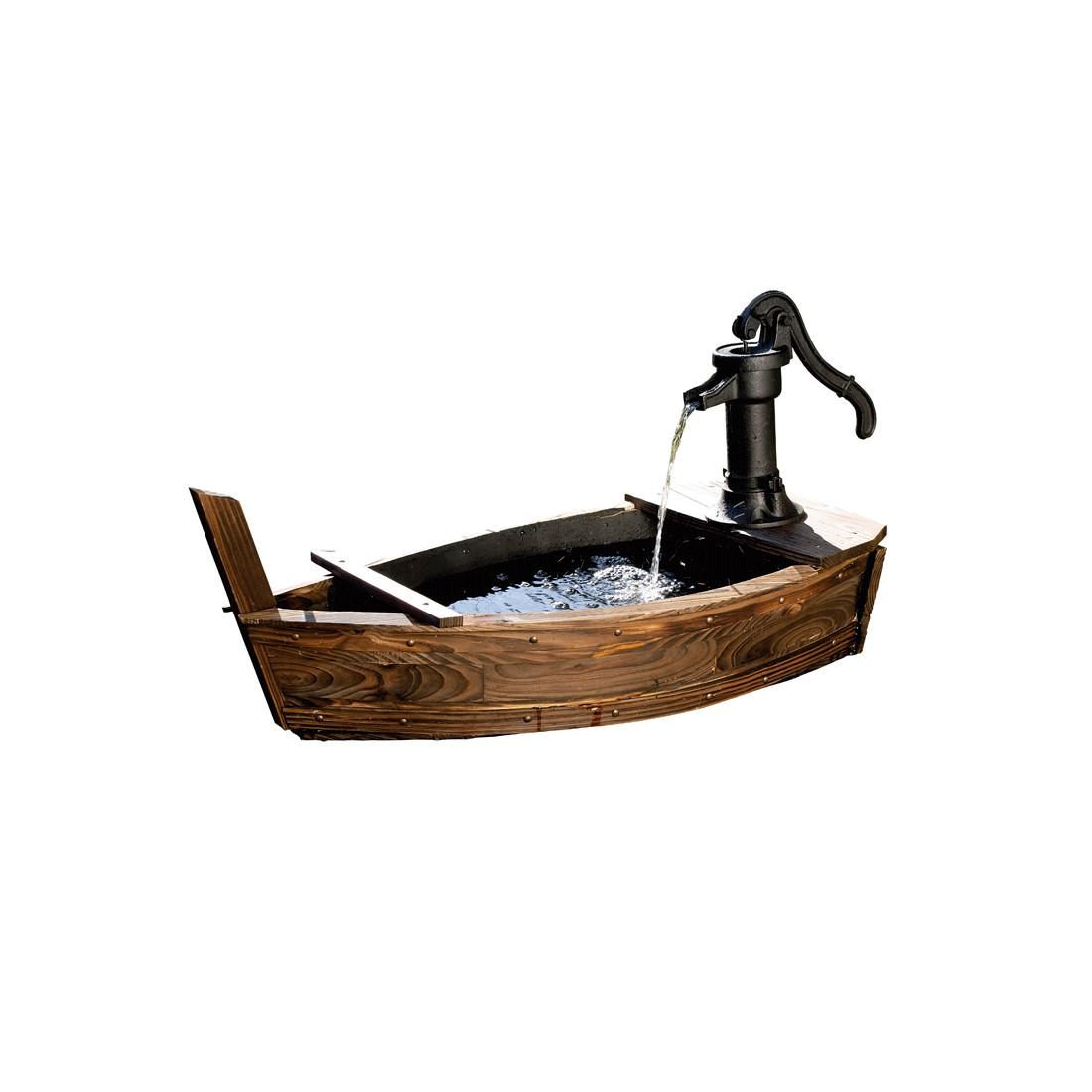 Brunnen in Bootform - Fichtenholz/Eisen - Braun, Pure Day
