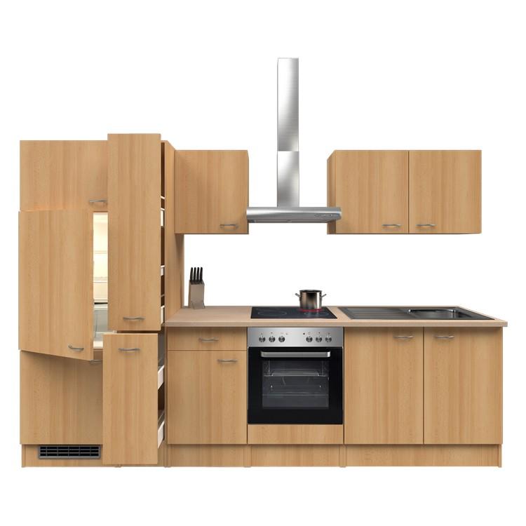 Küchenzeile Finn – Einbaugeräte – Spüle – 300 cm – Buche Dekor – Buche Dekor, Modus Küchen günstig kaufen