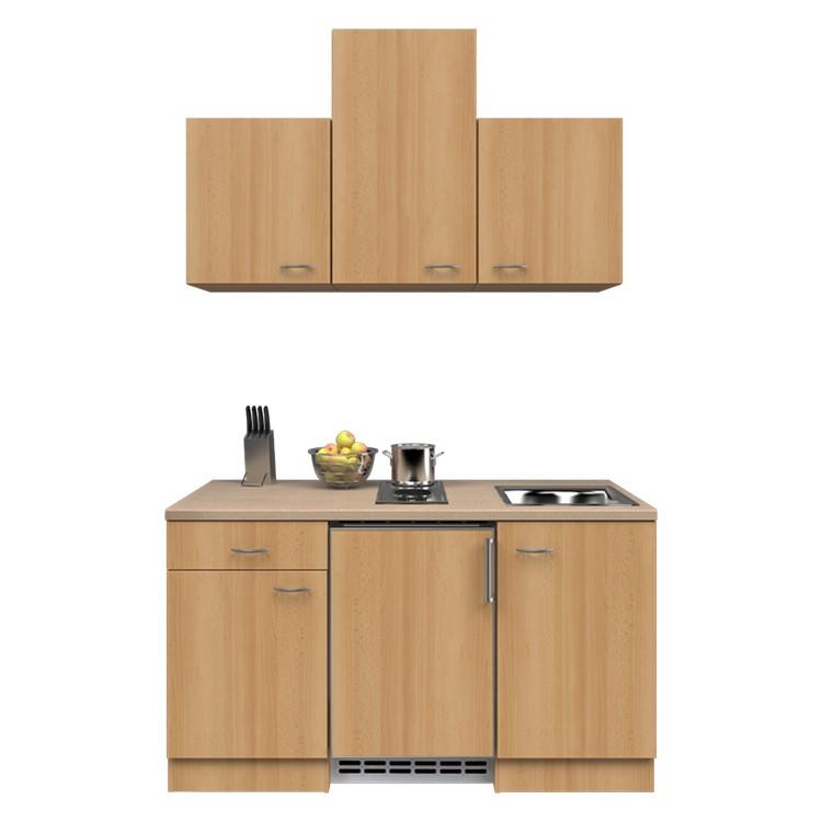 Küchenzeile Barinas – Einbaugeräte – Spüle – 150 cm – Buche Dekor – Buche Dekor, Modus Küchen günstig