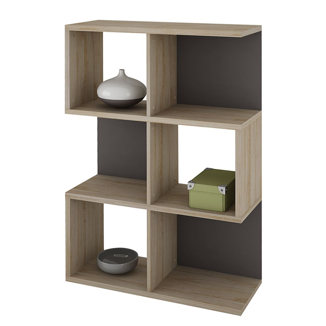 b cherregal alicante 6 f cher eiche s gerau basalt. Black Bedroom Furniture Sets. Home Design Ideas
