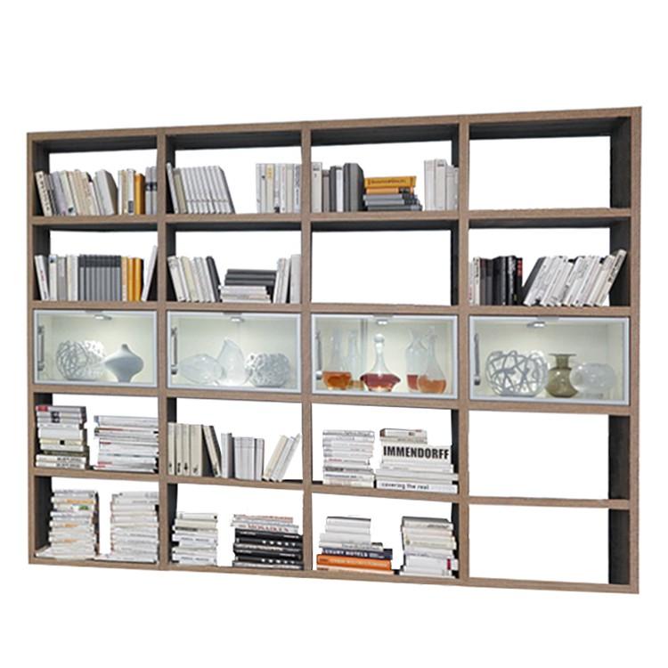 Bücherregal Cospaia - Eiche Dekor/Glas
