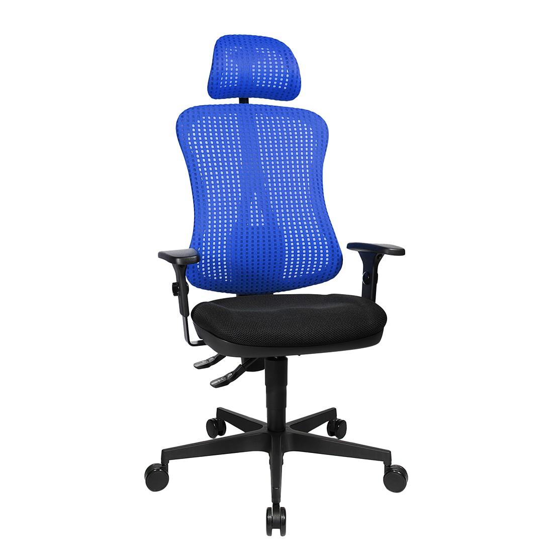 Bürodrehstuhl Head Point - Höhenverstellbare Armlehnen - Mit Kopfstütze - Blau / Schwarz, Topstar