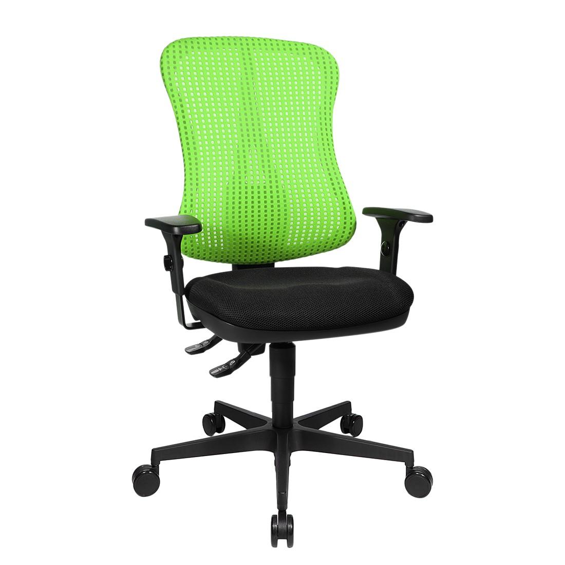 Bürodrehstuhl Head Point – Höhenverstellbare Armlehnen – Ohne Kopfstütze – Grün / Schwarz, Topstar günstig
