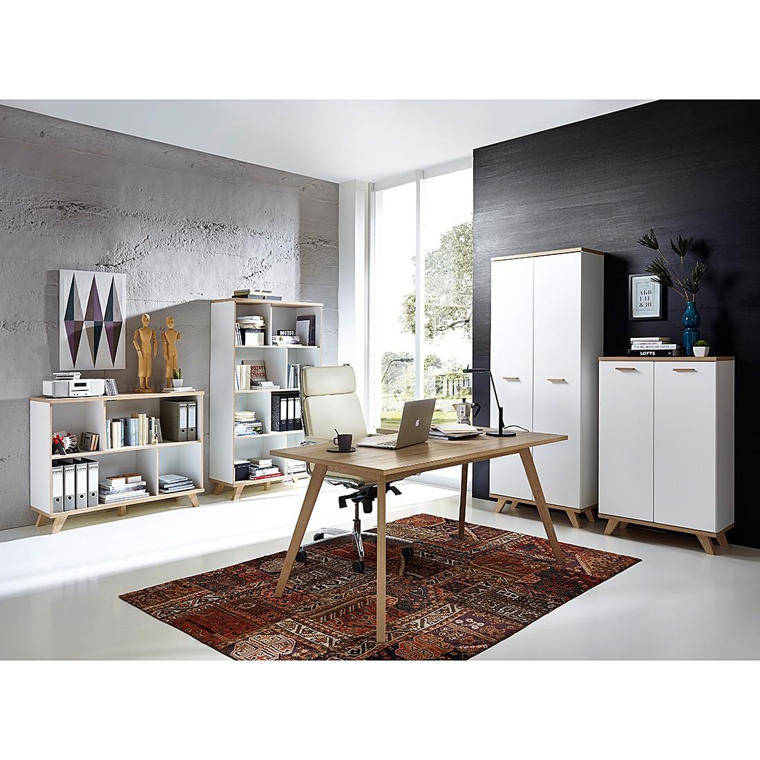 Büroset Neston I (5-teilig) - Eiche Sanremo Dekor/Weiß, Morteens