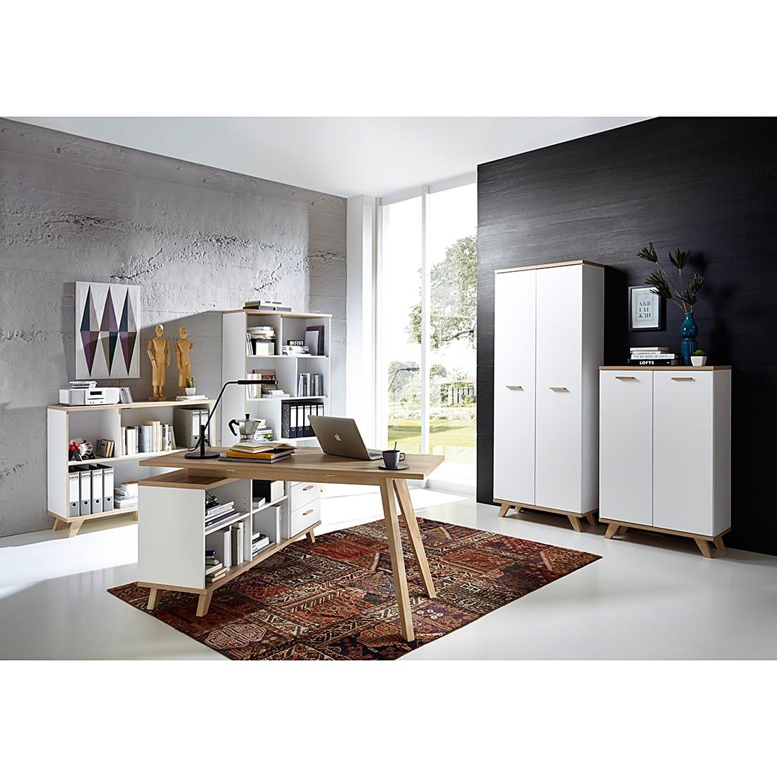 Büroset Neston II (5-teilig) - Eiche Sanremo Dekor/Weiß, Morteens