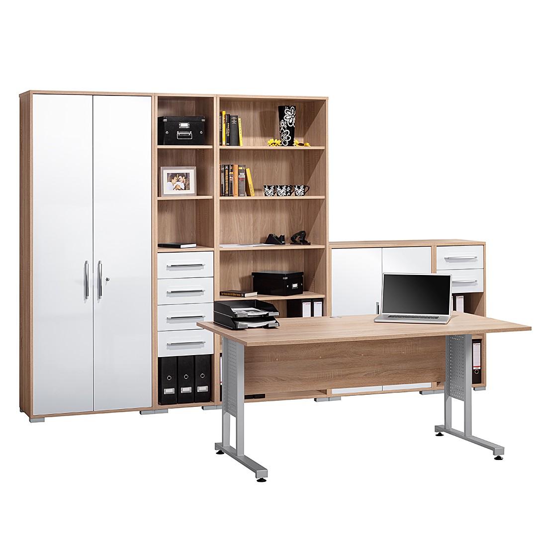 Bürosparset Merit I (6-teilig) – Sonoma Eiche Dekor/Hochglanz Weiß, Maja Möbel online kaufen