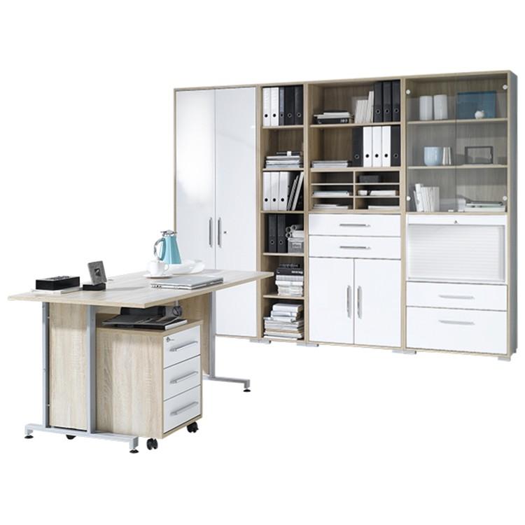Bürosparset Merit III (6-teilig) - Sonoma Eiche Dekor/Hochglanz Weiß, Office Collection