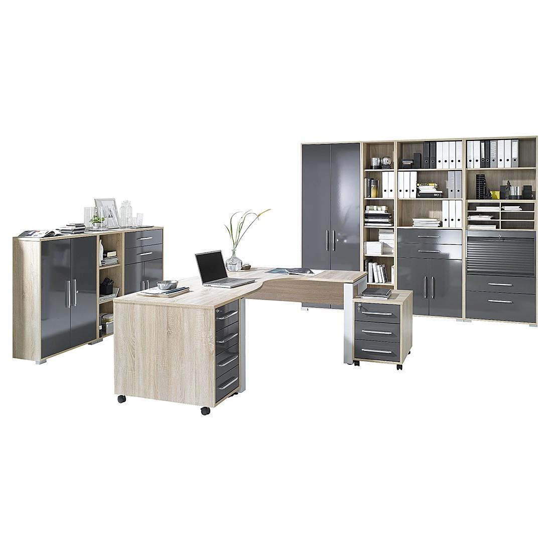 Bürosparset Merit V (10-teilig) – Sonoma Eiche Dekor/Hochglanz Grau, Maja Möbel jetzt bestellen