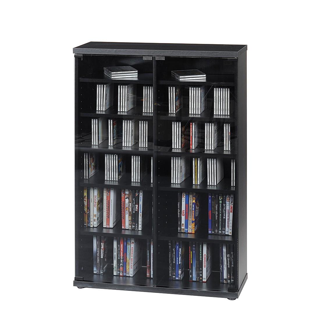 CD und DVD- Schrank CS 95 - Schwarz mit Grauglastüren