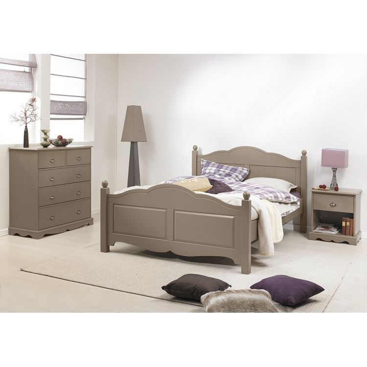 Chambre Lit Commode Chevet Taupe
