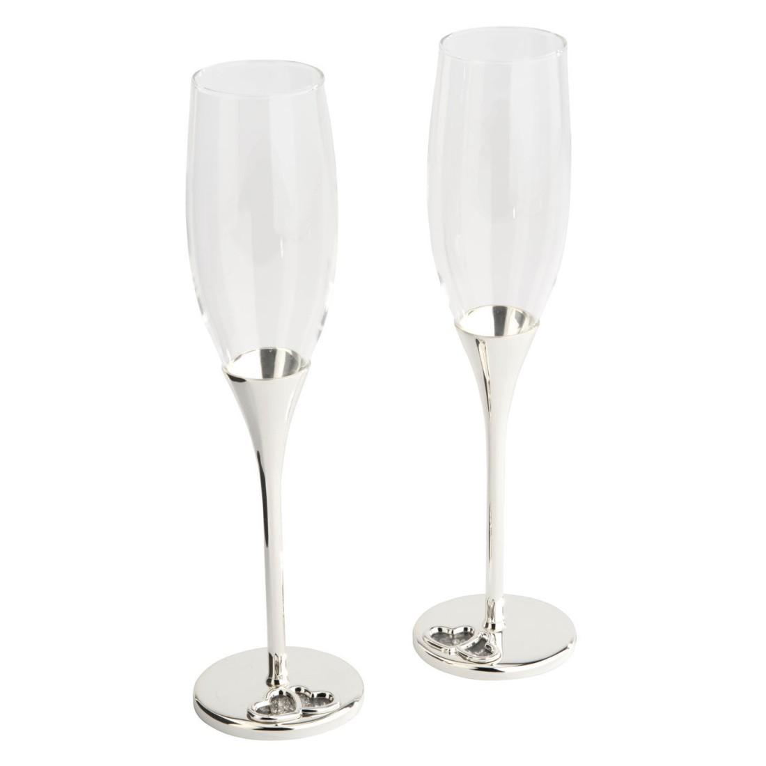 Champagnerflöten mit Kristallsteinchen (2-teilig) – Versilbert/Glas – Silber, Zilverstad günstig