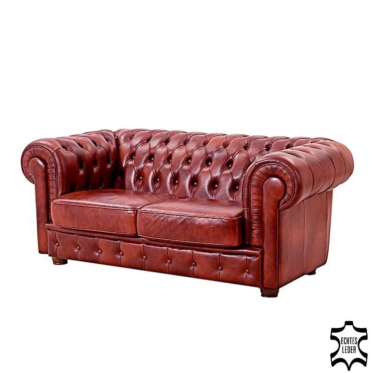 Sofa Brighton (2-Sitzer) - Echtleder Rot, Max Winzer