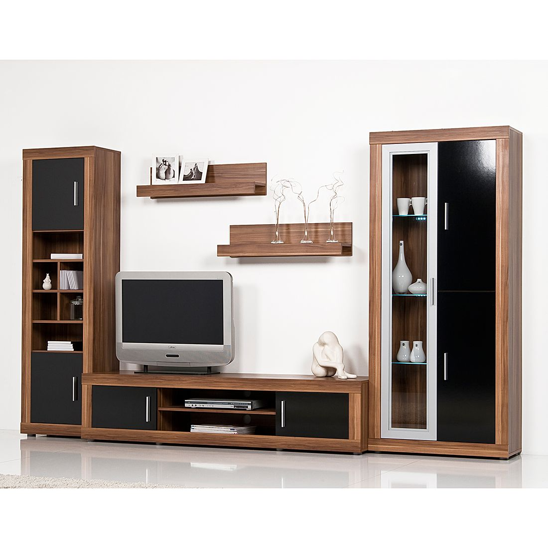 preisvergleich eu wohnwand nussbaum. Black Bedroom Furniture Sets. Home Design Ideas